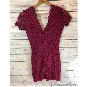 Tobi maroon lace dress